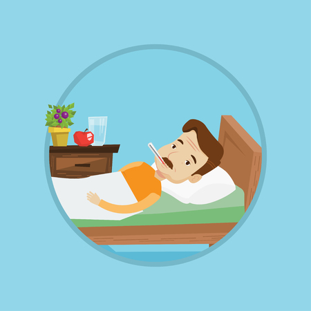 Caucasian sick man with fever laying in bed. Sick man measuring temperature with thermometer. Sick man suffering from cold or flu. Vector flat design illustration in the circle isolated on background. Illustration
