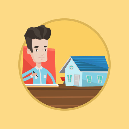 signing agent: Real estate agent signing contract. Real estate agent sitting in office with house model. Man signing home purchase contract. Vector flat design illustration in the circle isolated on background. Illustration