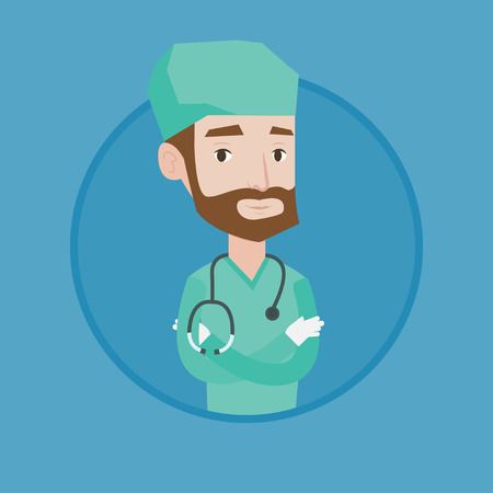 practitioner: Hipster surgeon standing with arms crossed. Caucasian confident surgeon in medical uniform. Surgeon with stethoscope on his neck. Vector flat design illustration in the circle isolated on background.