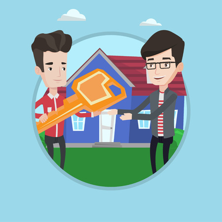 Real estate agent giving key to a new owner of a house. Real estate agent passing house keys to client. Man buying a new house. Vector flat design illustration in the circle isolated on background. Illustration