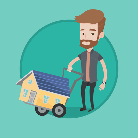 Hipster man pushing shopping trolley with house. Young caucasian man buying home. Man using shopping trolley to transport house. Vector flat design illustration in the circle isolated on background. Illustration