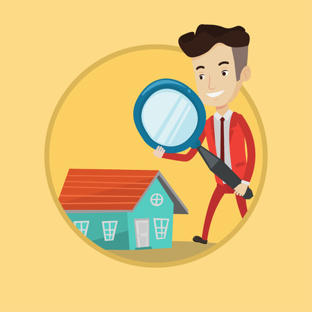 Caucasian businessman using a magnifying glass for looking for a new house. Businessman analyzing house with a magnifying glass. Vector flat design illustration in the circle isolated on background. Illustration
