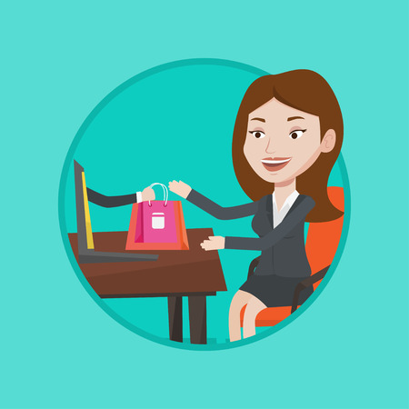 Young happy woman shopping online. Woman getting online order in virtual shop. Caucasian woman using laptop for online shopping. Vector flat design illustration in the circle isolated on background.