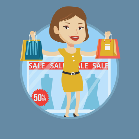 window display: Woman with shopping bags standing in front of clothes shop display window with sale sign. Caucasian woman buying clothes on sale. Vector flat design illustration in the circle isolated on background.