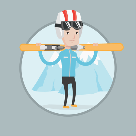 slope: Smiling caucasian man carrying skis. Sportsman standing with skis on his shoulders on the background of mountain. Young man skiing. Vector flat design illustration in the circle isolated on background Illustration
