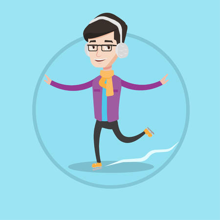 skating rink: Happy man ice skating. Young caucasian smiling sportsman ice skating. Cheerful man at skating rink. Vector flat design illustration in the circle isolated on background.