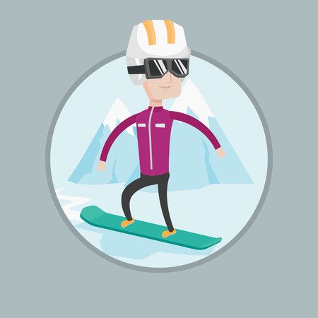 piste: Caucasian man snowboarding on the background of mountain. Snowboarder on piste in mountains. Man snowboarding in the mountains. Vector flat design illustration in the circle isolated on background.