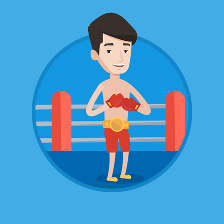 Young confident sportsman in boxing gloves. Professional male boxer standing in the boxing ring. Man wearing red boxing gloves. Vector flat design illustration in the circle isolated on background. Illustration