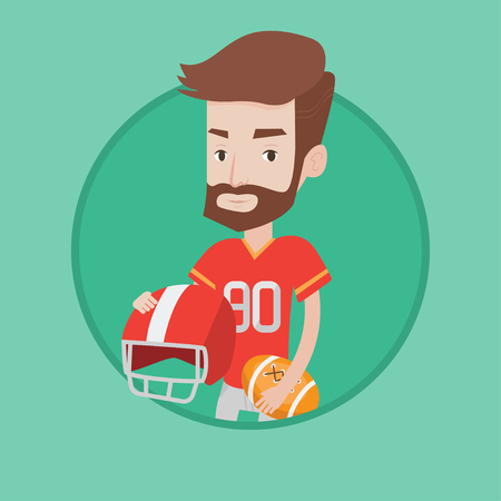 rugby player: A hipster rugby player with the beard holding rugby ball and helmet in hands. Young caucasian male rugby player in uniform. Vector flat design illustration in the circle isolated on background.