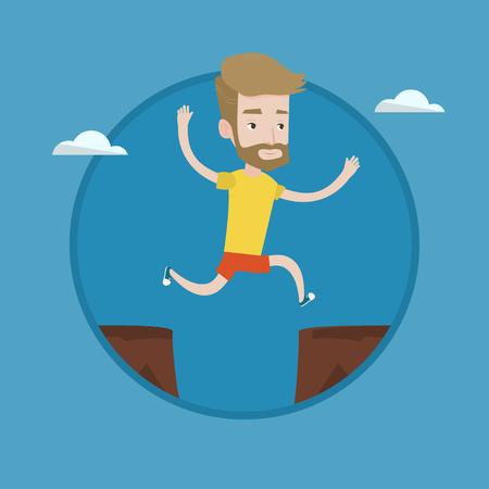 Hipster man with the beard jumping across the gap from one rock to another. Young caucasian sportsman jumping over rocks with gap. Vector flat design illustration in the circle isolated on background.