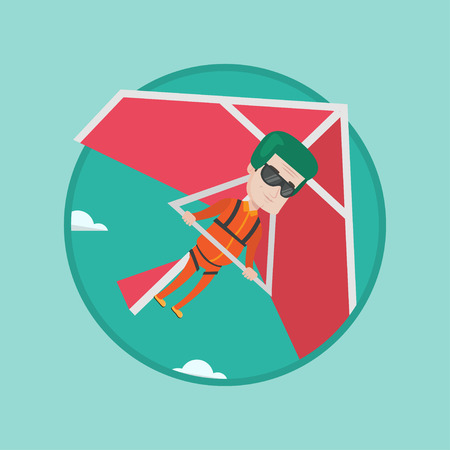 Caucasian man flying on hang-glider. Sportsman taking part in hang gliding competitions. Man having fun while gliding on hang-glider. Vector flat design illustration in circle isolated on background. Illustration