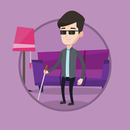 Young blind man standing with walking stick. Blind man in dark glasses standing with cane at home. Blind man walking with stick. Vector flat design illustration in the circle isolated on background. Illustration