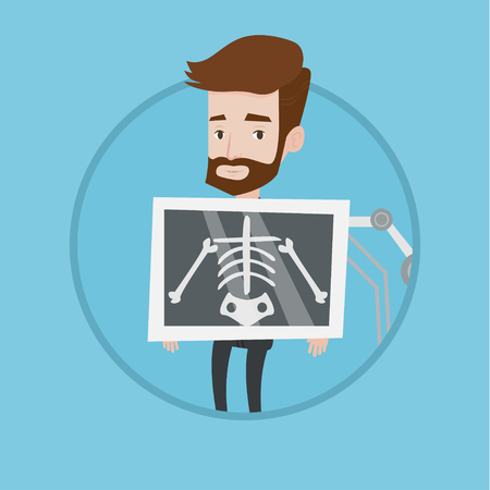 xray machine: Young hipster patient during chest x ray procedure. Man with x ray screen showing his skeleton. Patient visiting roentgenologist. Vector flat design illustration in the circle isolated on background. Illustration