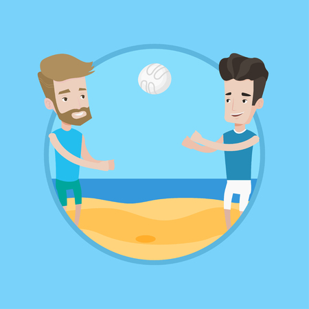caucasian men: Man playing beach volleyball with his friend. Two caucasian men having fun while playing beach volleyball during summer holiday. Vector flat design illustration in the circle isolated on background. Illustration