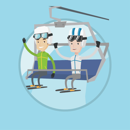 caucasian men: Two caucasian men sitting on ski elevator. Smiling skiers using cableway at ski resort. Skiers on cableway at winter sport resort. Vector flat design illustration in the circle isolated on background.