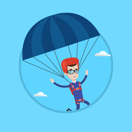 Caucasian man flying with a parachute. Happy man paragliding on a parachute. Professional parachutist descending with a parachute. Vector flat design illustration in the circle isolated on background. Stock Illustratie