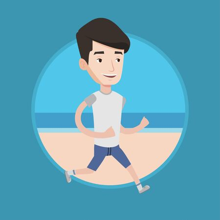 Caucasian man jogging on beach. Athlete running on the beach. Man running along the seashore. Fit guy enjoying jogging at beach. Vector flat design illustration in the circle isolated on background