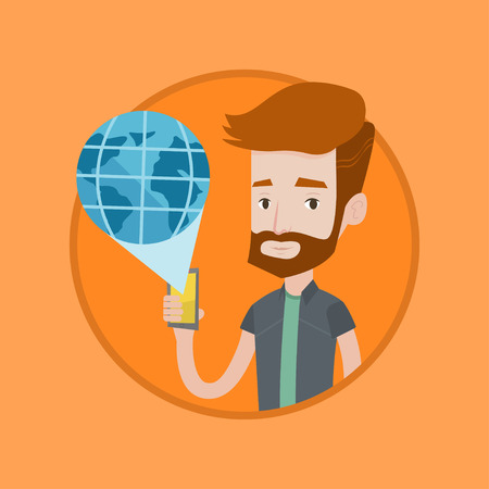 Caucasian hipster man using global network. Man holding a smartphone with a virtual globe model. Global communication concept. Vector flat design illustration in the circle isolated on background. Illustration