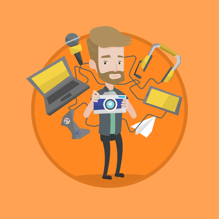 device: Man taking photo with digital camera. Man surrounded with gadgets. Man using many electronic gadgets. Guy addicted to gadgets. Vector flat design illustration in the circle isolated on background.