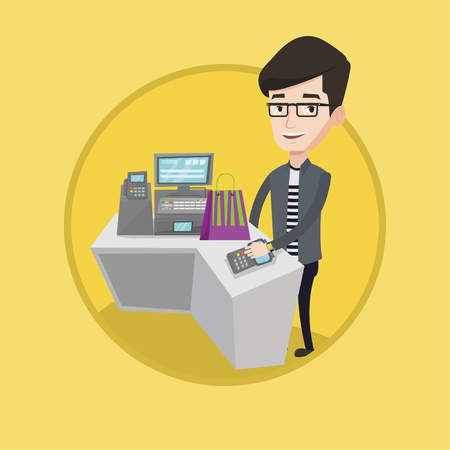 retail shopping: Young man paying wireless with his smart watch at the checkout counter. Male customer making payment for purchase with smart watch. Vector flat design illustration in the circle isolated on background Illustration