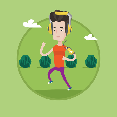 armband: Man running with earphones and armband for smartphone. Young man using smartphone to listen to music while running in the park. Vector flat design illustration in the circle isolated on background.