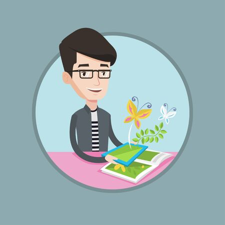 touchpad: Caucasian cheerful man holding tablet computer with application for augmented reality. Concept of augmented reality. Vector flat design illustration in the circle isolated on background.