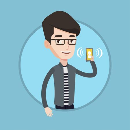 ringing phone: Young smiling man holding ringing mobile phone. Caucasian man answering a phone call. Man standing with ringing phone in hand. Vector flat design illustration in the circle isolated on background.
