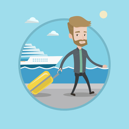 cruise liner: Young passenger with suitcase going to cruise liner at the pier station. Hipster man walking on the background of cruise liner. Vector flat design illustration in the circle isolated on background.