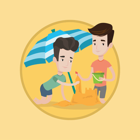 Young caucasian men making sand castle on the beach under beach umbrella. Happy friends building sandcastle. Beach holiday concept. Vector flat design illustration in the circle isolated on background