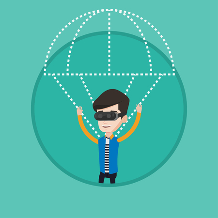 Young man wearing virtual reality glasses and flying with parachute. Man in vr headset having fun while flying in virtual reality. Vector flat design illustration in the circle isolated on background. Illustration