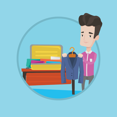 suitcase packing: Young businessman packing his clothes in an opened suitcase. Smiling caucasian businessman putting a suit into a suitcase. Vector flat design illustration in the circle isolated on background. Illustration