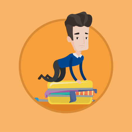 suitcase packing: Young caucasian man sitting on suitcase and trying to close it. Frustrated man having problems with packing clothes in suitcase. Vector flat design illustration in the circle isolated on background. Illustration
