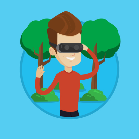 Caucasian gamer wearing virtual reality headset in the park. Man using virtual reality glasses and playing videogame in the park. Vector flat design illustration in the circle isolated on background. Illustration