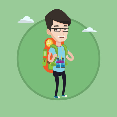 caucasians: Hiking caucasian traveler standing with backpack and binoculars. Traveler man enjoying recreation time. Happy traveler during trip. Vector flat design illustration in the circle isolated on background