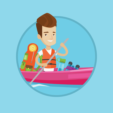 Kayaker riding in kayak on river with skull in hands and some tourist equipment behind him. Caucasian kayaker traveling by kayak. Vector flat design illustration in the circle isolated on background.