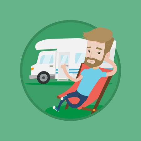 Hipster man sitting in folding chair and giving thumb up on the background of camper van. Man enjoying vacation in camper van. Vector flat design illustration in the circle isolated on background.