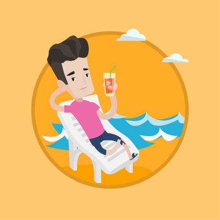 chaise longue: Man sitting on a chaise longue at the beach. Happy man drinking a cocktail at beach. Caucasian man resting on beach with cocktail. Vector flat design illustration in the circle isolated on background.