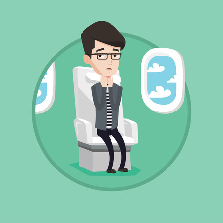 terrified: Young terrified caucasian airplane passenger shocked by plane flight in a turbulent area. Airplane passenger frightened by flight. Vector flat design illustration in the circle isolated on background.