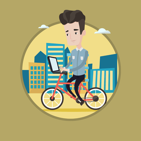 Young caucasian man riding a bike to work. Cyclist riding bike in the city. Businessman working on laptop while riding a bike. Vector flat design illustration in the circle isolated on background.