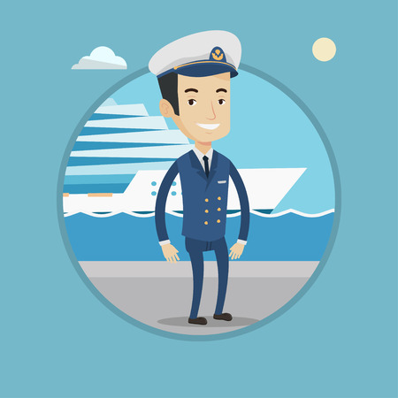 seacoast: Caucasian captain on the background cruise ship. Ship captain in uniform on seacoast background. Ship captain standing at the port. Vector flat design illustration in the circle isolated on background Illustration