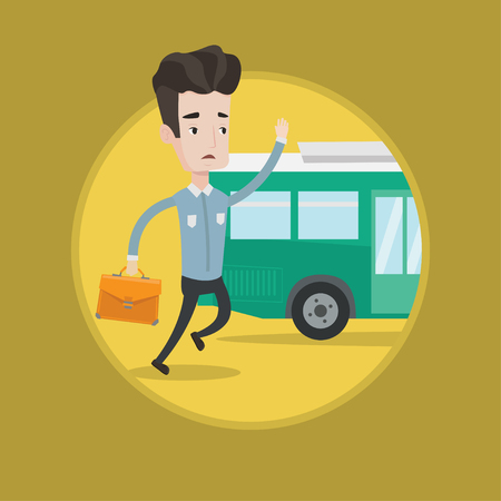 Man running to catch bus. Caucasian man running for outgoing bus. Guy chasing a motorbus. Latecomer man running to reach a bus. Vector flat design illustration in the circle isolated on background. Illustration