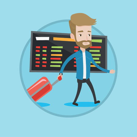 departure board: Hipster caucasian passenger with suitcase walking on the background of schedule board in airport. Man pulling suitcase in airport. Vector flat design illustration in the circle isolated on background. Illustration