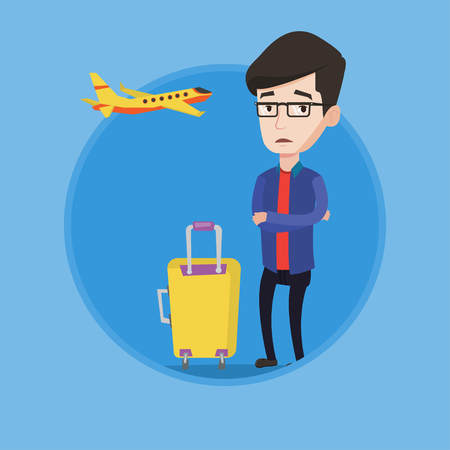 terrified: Airplane passenger frightened by future flight. Man suffering from fear of flying. Terrified passenger waiting for a flight. Vector flat design illustration in the circle isolated on background.