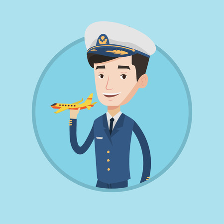 Caucasian airline pilot holding a model airplane in hand. Cheerful airline pilot in uniform. Happy confident pilot model airplane. Vector flat design illustration in the circle isolated on background. Vettoriali