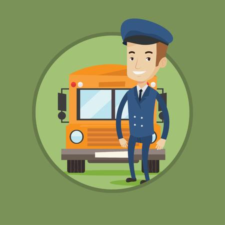 Caucásico conductor de la escuela feliz de pie en frente del autobús amarillo. conductor del autobús sonriente de la escuela en uniforme. conductor del autobús escolar Alegre. Vector ilustración de diseño plano en el círculo aislado en el fondo. Ilustración de vector