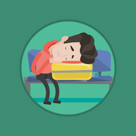 Tired caucasian passenger sleeping on luggage in airport. Exhausted man waiting for flight and sleeping on suitcase in airport. Vector flat design illustration in the circle isolated on background.