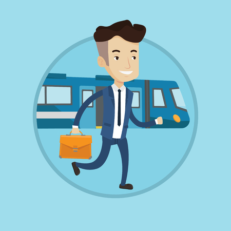 Young caucasian businessman walking on the train platform. Businessman going out of train. Happy businessman at the train station. Vector flat design illustration in the circle isolated on background.