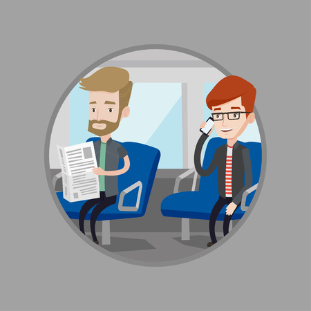 people traveling: Man using mobile phone in public transport. Caucasian man reading newspaper in public transport. People traveling by public transport. Vector flat design illustration in circle isolated on background. Illustration