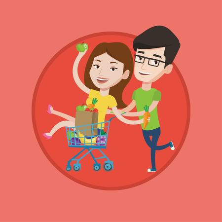 mujer en el supermercado: Un par de amigos despreocupados jóvenes se divierten mientras se conduce por la carretilla de las compras. Hombre empujando un carrito de la compra con su novia. Vector ilustración de diseño plano en el círculo aislado en el fondo. Vectores