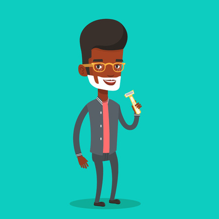 shaver: An african-american man shaving face. Man with shaving cream on face and razor in hand. Man prepping face for daily shaving. Concept of daily hygiene. Vector flat design illustration. Square layout.
